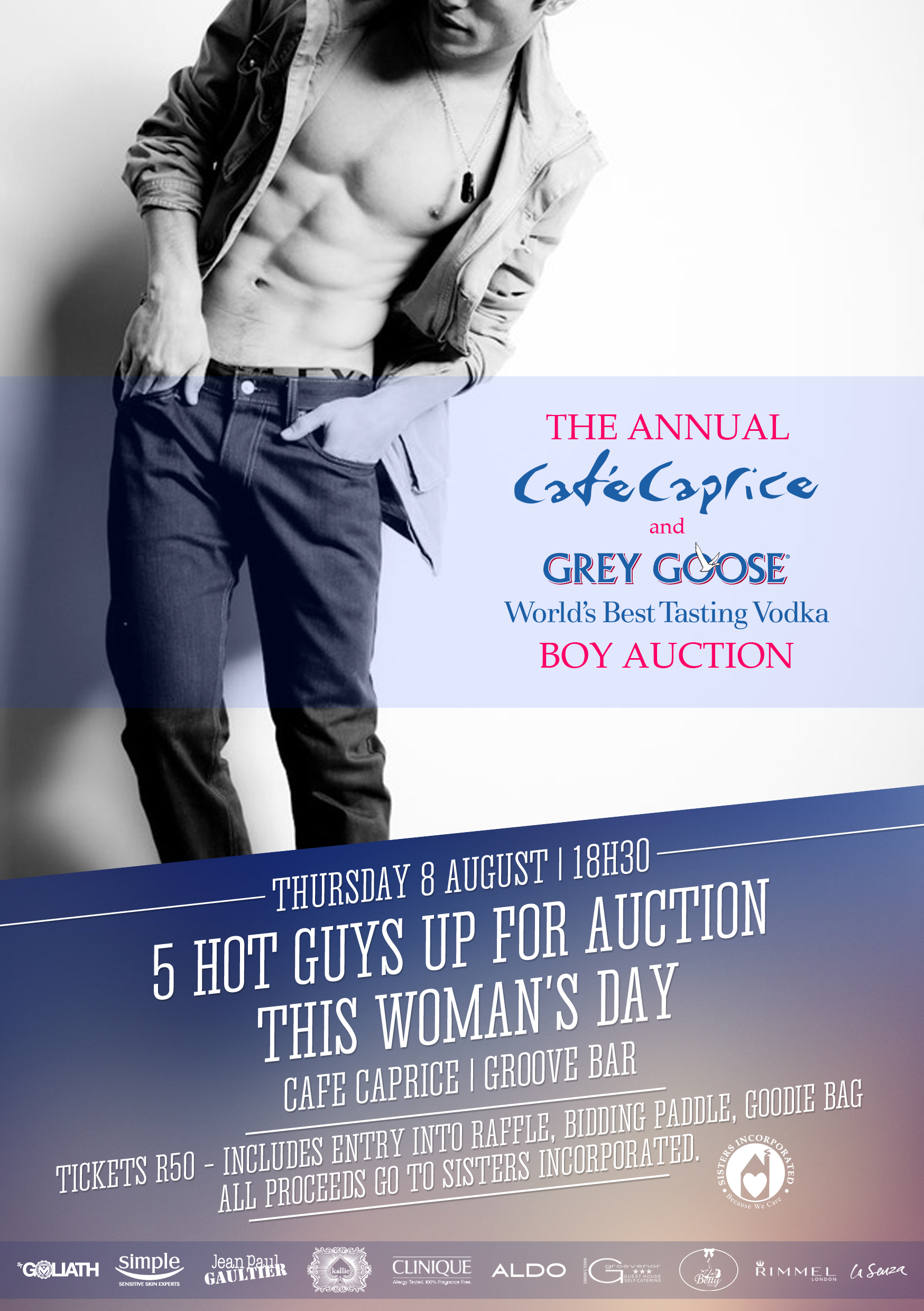 Cafe Caprice and Grey Goose Charity Boy Auction Invite
