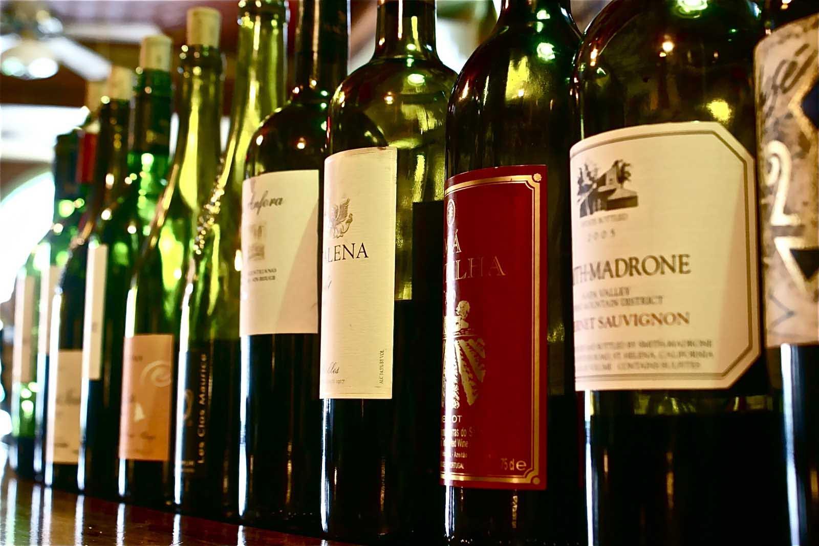 Wine tasting bottles