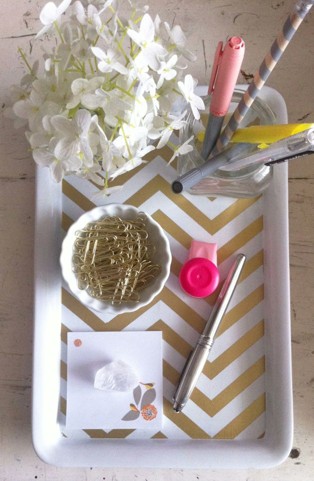 DIY-gold-chevron-table