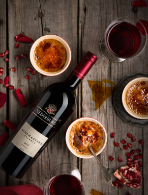 Rose and Earl Grey Creme Brulee, with Nederburg WMR Shiraz LR