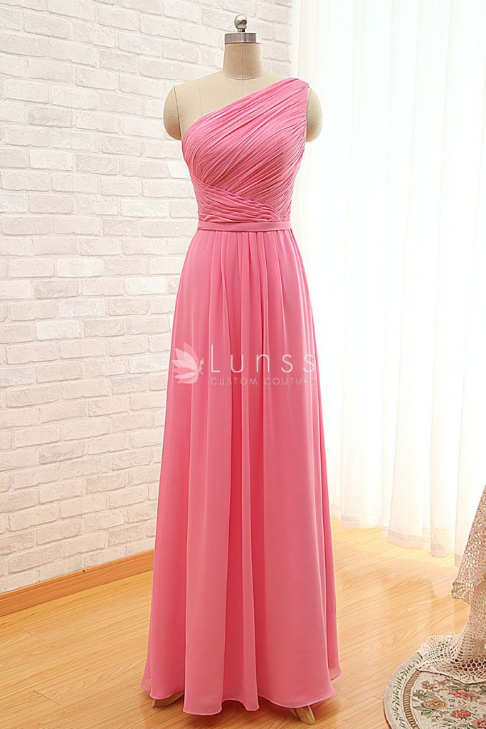 pleated-asymmetrical-one-shoulder-pink-chiffon-simple-long-bridesmaid-dress-1