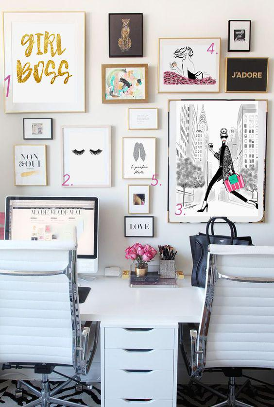 Home office decor chic tips fashionjazz for Chic office ideas